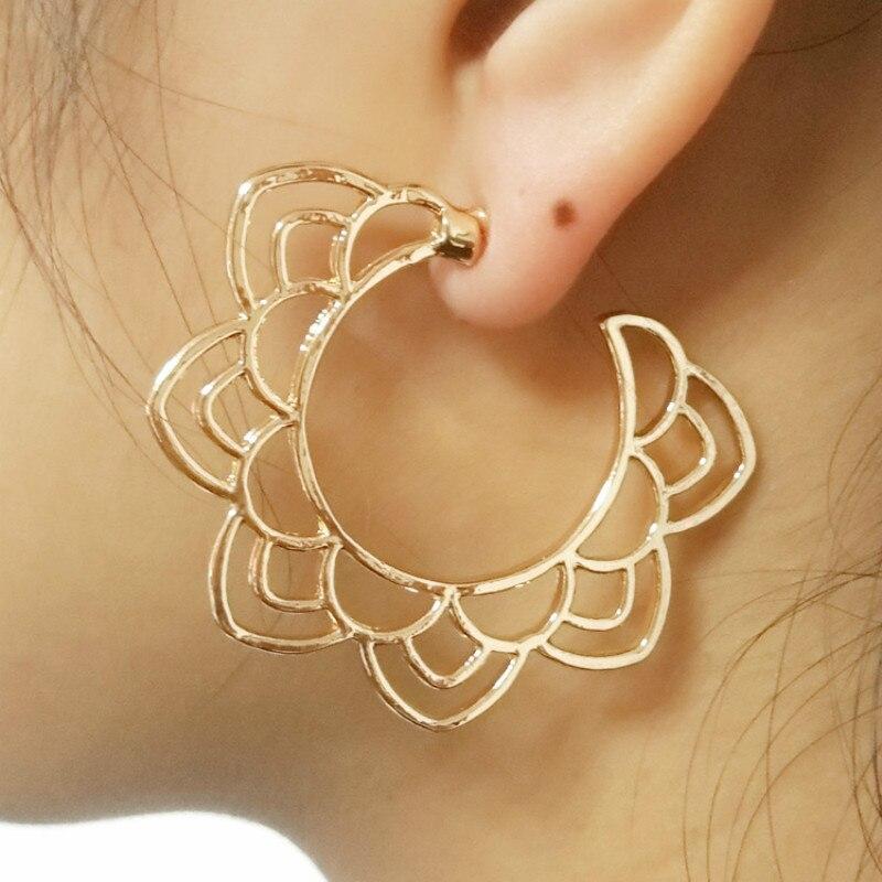 New Popular Openwork Flower Brincos Gold  Earrings For Women Jewelry Earrings Fashion Jewelry Wholesale