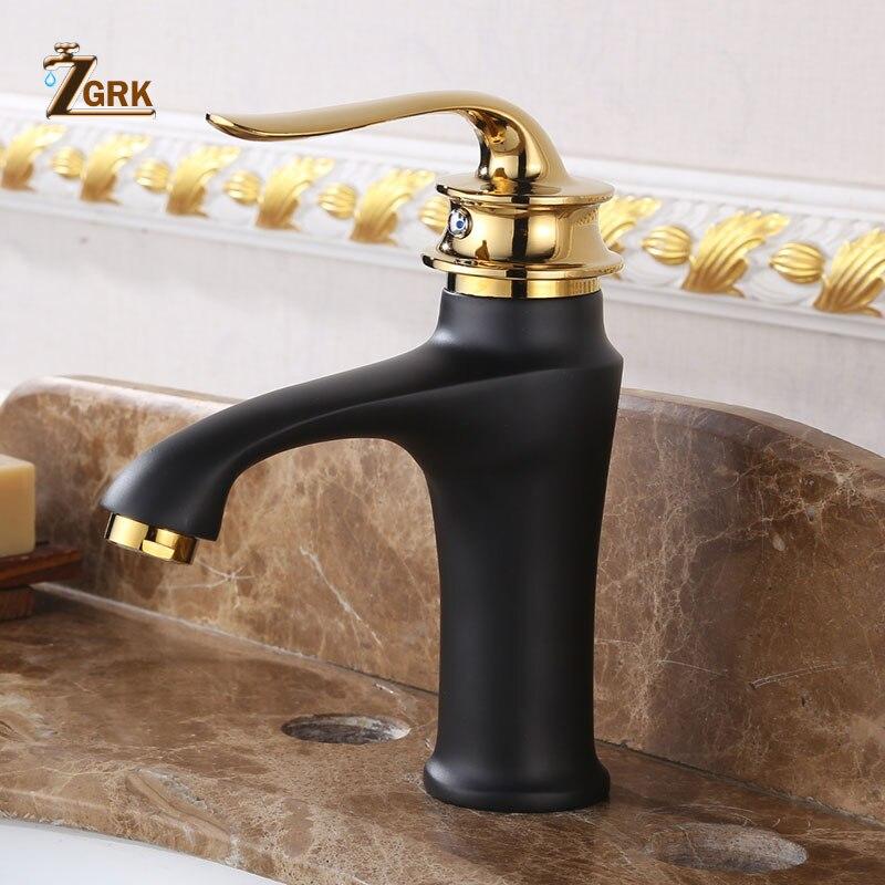 ZGRK حوض الحنفيات النحاس الحمام صنبور خلاط أسود ذهبي ساخن وبارد صنبور حوض خلاط وحيد مقبض بالوعة صنبور
