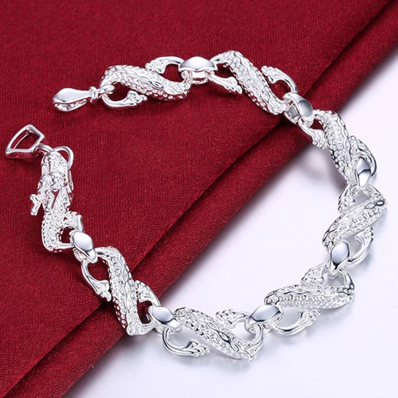 Pulsera de cadena de dragón plateado DOTEFFIL 925 Sterling para hombre y mujer, amuleto para boda, compromiso, joyería de moda para fiestas