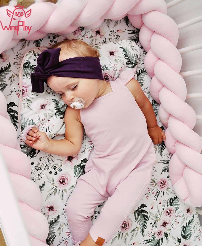 Parachoques de cuna de bebé 1 M/2 M/3 M parachoques de cama de bebé de algodón DIY nudo de parachoques de cama de bebé recién nacido Parachoques en la decoración de la habitación de la cuna