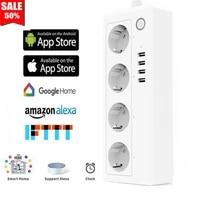 Multiprise intelligente Wifi  4 prises EU US  4 ports de charge USB  application de synchronisation  commande vocale  fonctionne avec Alexa Google Home Assistant