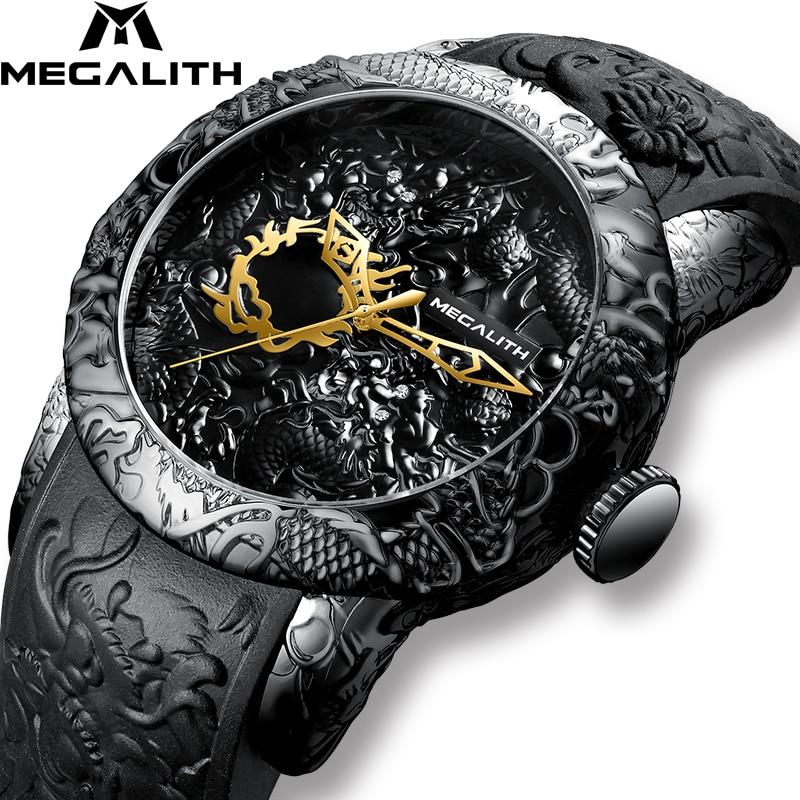 Мужские модные кварцевые часы MEGALITH со скульптурой золотого дракона, водонепроницаемые спортивные часы с большим циферблатом для мужчин, то...