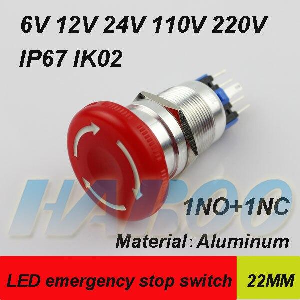 1 Uds. De embalaje led interruptor de parada de emergencia interruptor de metal led cabeza de seta 1NO + 1NC 4 pines 24V 220V impermeable IP67 IK02 envío gratuito