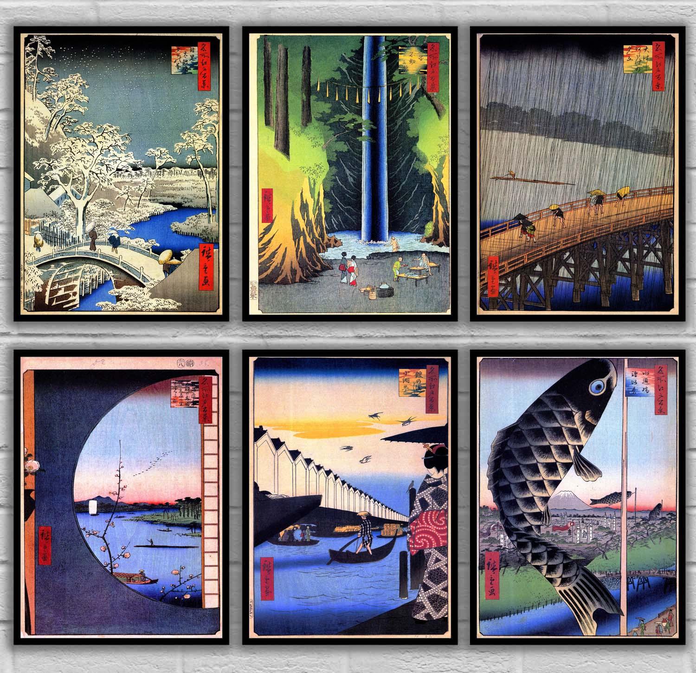 Póster Artístico japonés Hiroshi Yoshida Utagawa Kuniyoshi Ando Hiroshige Samurai héroes del guerrero de la gran pacificación ukiyo-e