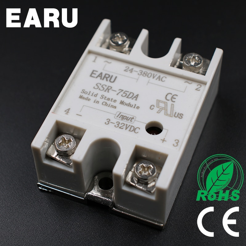 DC 3-32V Input AC 24-480V Output SSR 75A Solid State Relay SSR-75DA SSR-75 DA for PID Temperature Controller Voltage Transformer