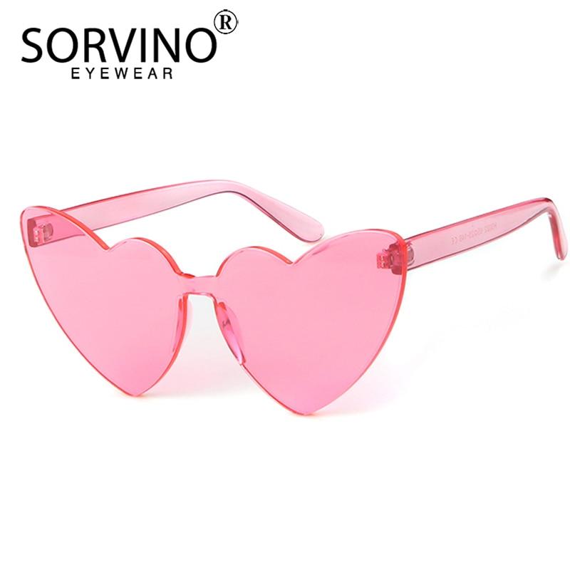 SORVINO gafas de sol Retro para mujer, gafas de sol con forma de corazón, marca de diseñador, moda 2020, gafas de sol sin montura de ojo de gato Rosa SP295