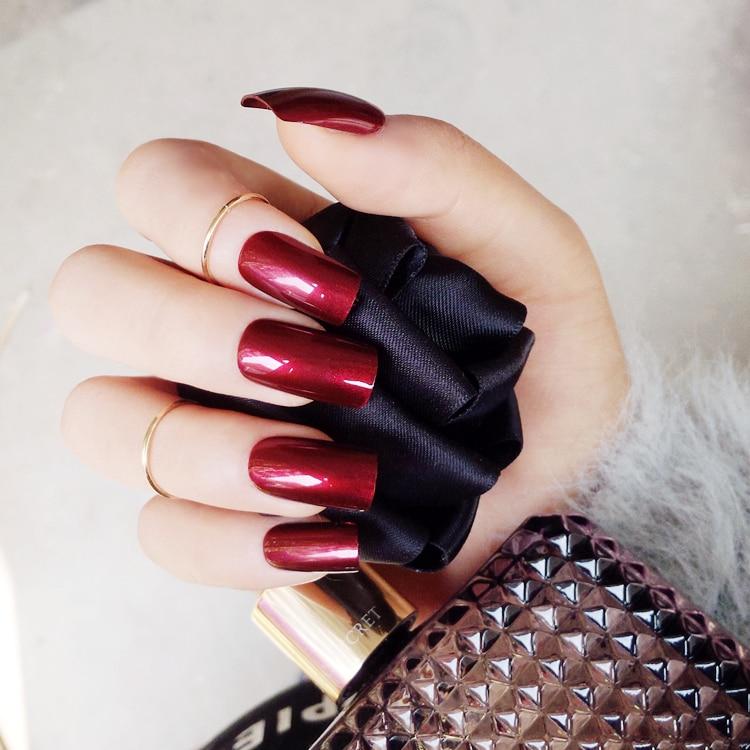 Uñas postizas especulares de vampiro rojo y vino 24 uds, puntas de uñas cuadradas largas y sólidas, adhesivo con cola valse nagels wijn rood