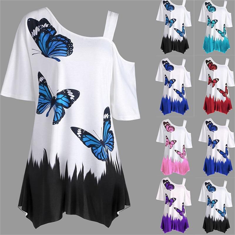 Женская футболка на одно плечо, свободная футболка большого размера с принтом в виде бабочки, на лето, 2019