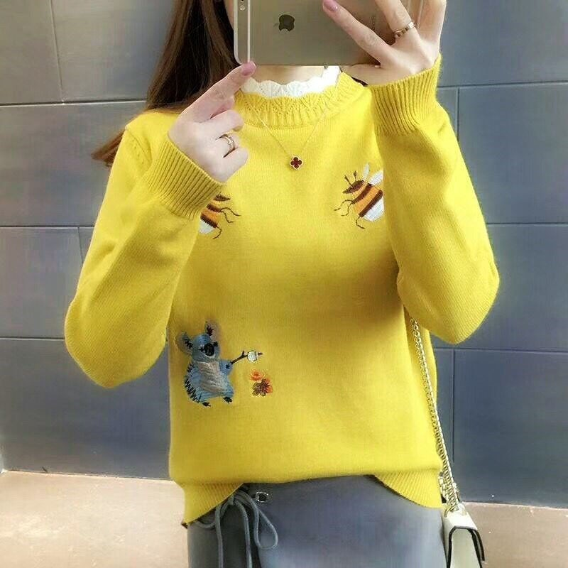 2019 New Autumn Fashion Knitted Girls Pullover Tops Bee Printed Ladies Knit Sweaters Fall Warm Turtle Neck Pullovers Jumper
