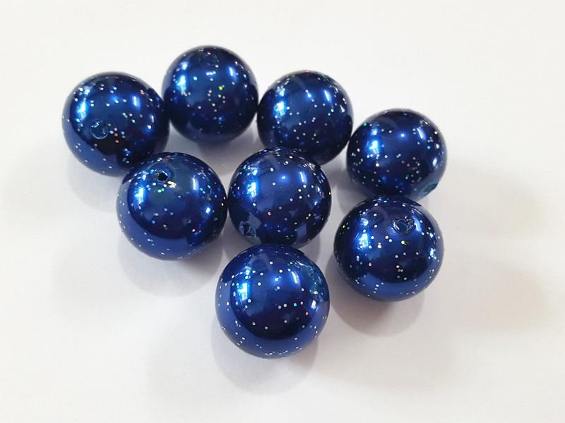 (Choose Size First) 10mm/12mm/20mm  Dark Blue  Glitter Effect Acrylic  Pearl  Beads