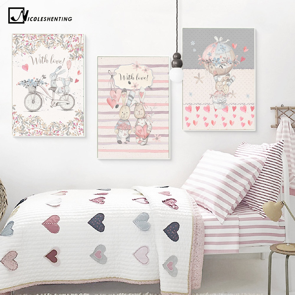 Kawaii Hand Paint Rabbit Balloon Poster Prints Minimalist Wall Art Canvas Painting Modern Nursery Picture Baby Room Decoration