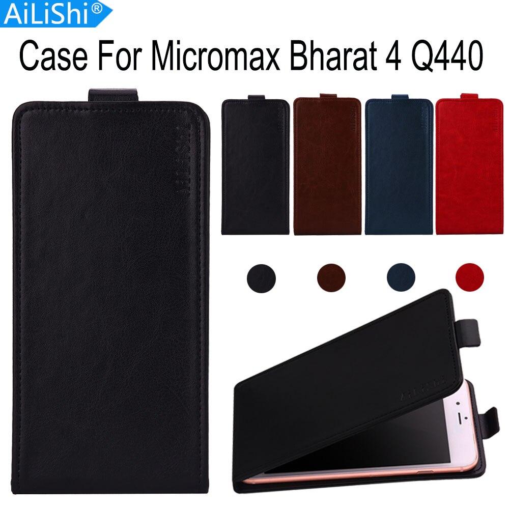 Funda AiLiShi para Micromax Bharat 4 Q440 de lujo Flip Bharat 4 Q440 Micromax Funda de cuero exclusiva cubierta de teléfono 100% piel + número de seguimiento