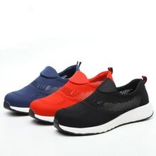 men plus size summer breathable steel toe cap work safety shoes slip-on platform construction site worker sandals security shoe