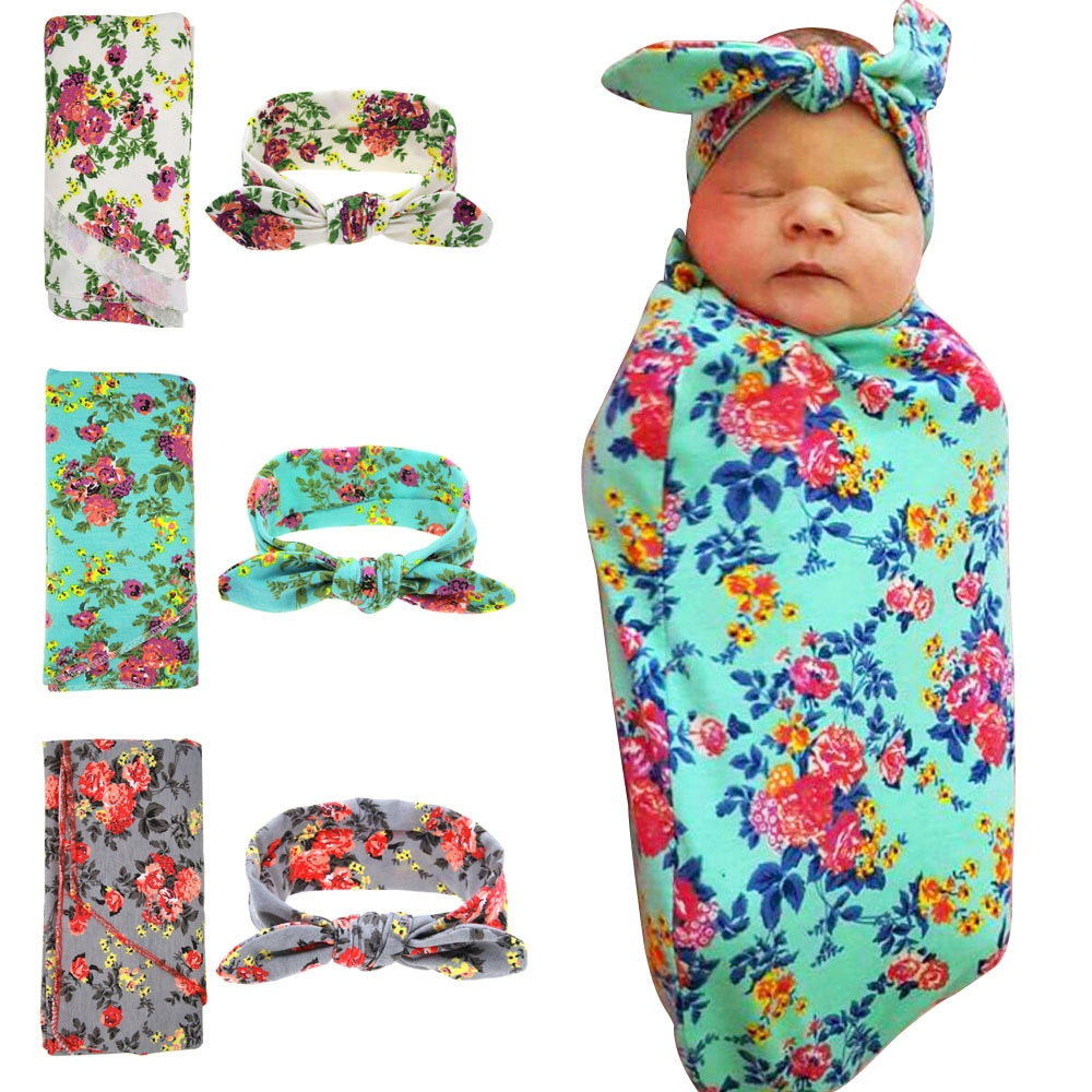 Infant baby Floral Print Swaddle Blanket Kids fashion Cotton Baby Blanket with headband set GT005