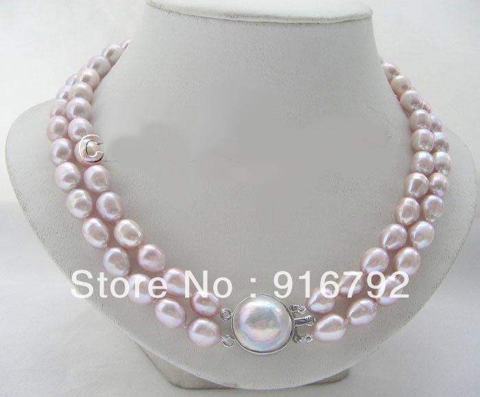 "Envío gratis >> >> > Beautiful 2 row 18 "" 12 mm natural púrpura barroco FW collar de perlas blister Mabe pe"