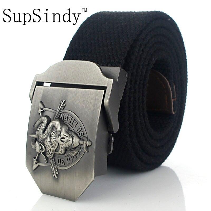 Мужской ремень SupSindy, армейский тактический ремень с металлической пряжкой и черепом