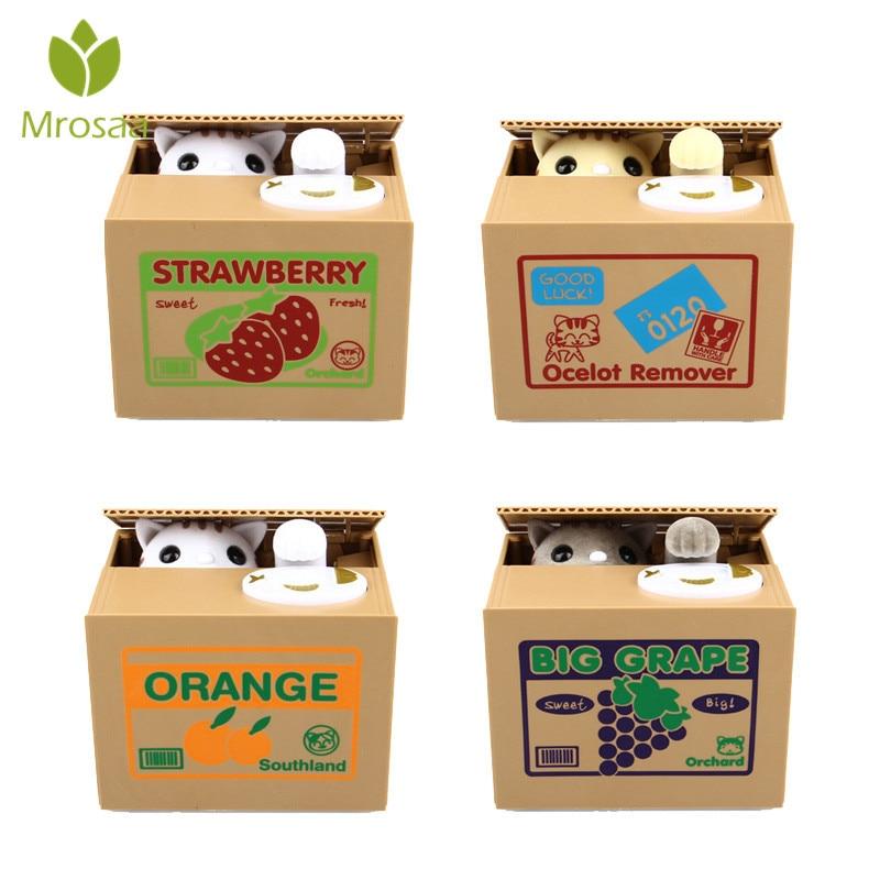 Gato ladrón cajas de dinero juguete piggy bancos Skarbonka cajas de monedas Tirelire automática creativos regalos para los niños de dinero Caja de Ahorro de Moneybox