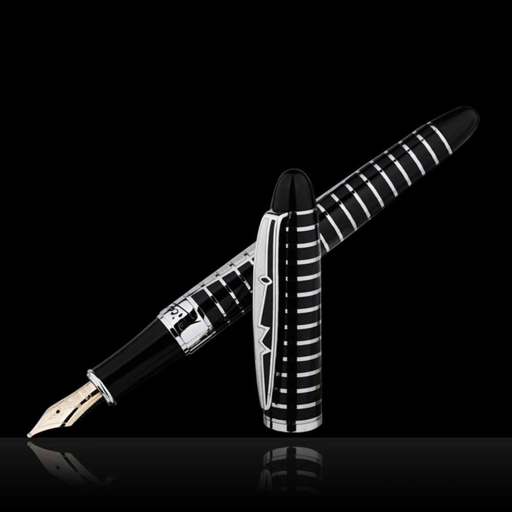Picasso Round Dance of Flowers 10K Gold Nib Fountain Pen Black Color with Original Gift Box for Writing Gift Collection