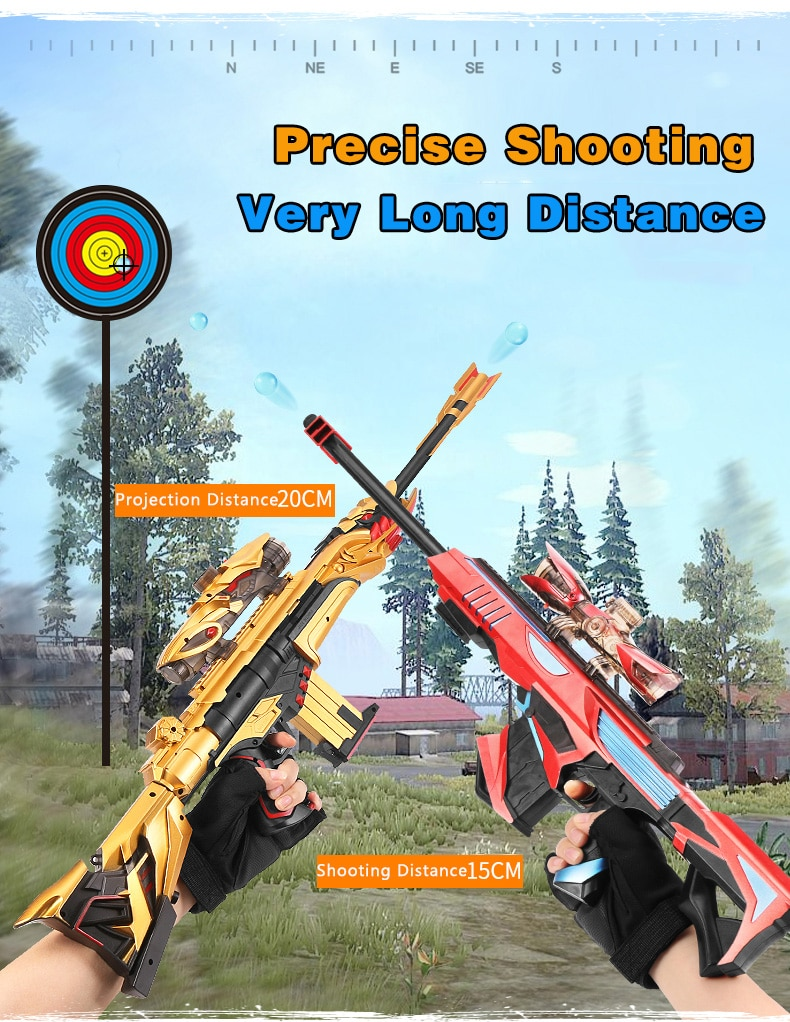 Barrett Childrens Toy Gun Water Gun Crystal Water Gun Boy Can Launch Bullet Sniper Rifle Plastic Soft Bullet Outdoor Toy Gift