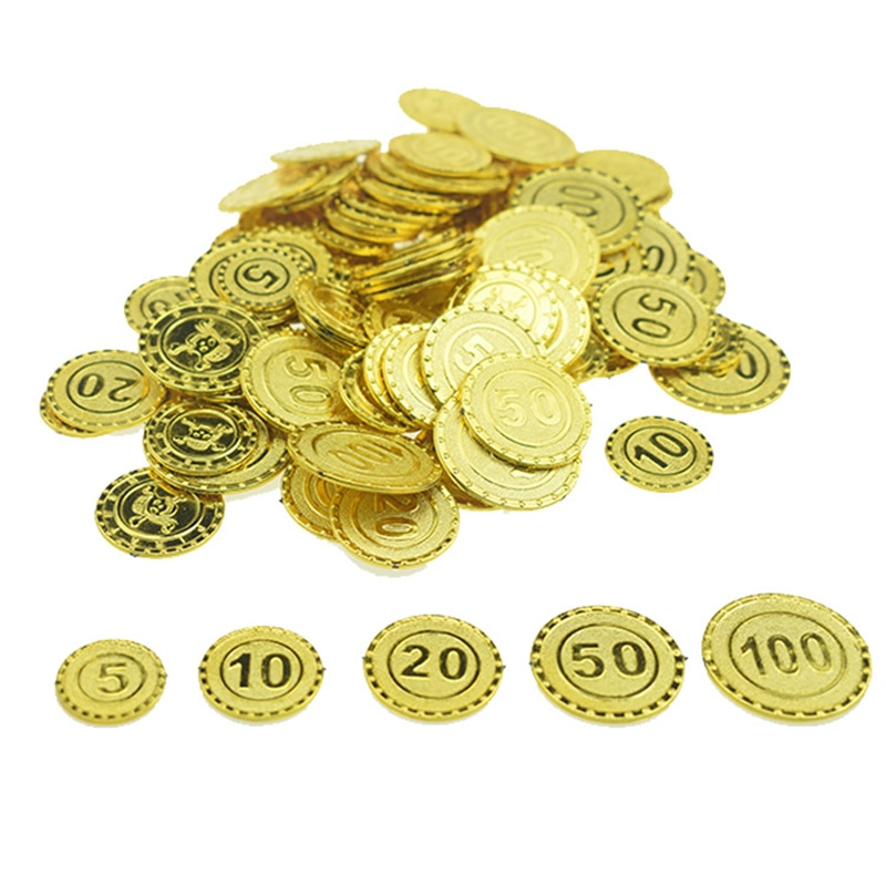 100 шт., пластиковая монета с золотыми сокровищами, монета капитана пирата, реквизит для малышей, декоративные игрушки для мальчиков
