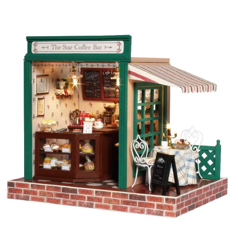Casa de DIY para muñecas de juguete de madera Miniatura caja de habitación hecha a mano muebles Kits 3D casa de muñecas en Miniatura regalos de cumpleaños San Valentín Café Bar
