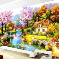 golden panno dmc cross stitchneedleworksets for embroidery kit 9ct 11ct printed cotton silk thread dream home counted cross