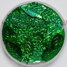 12x18 мм листья свободная тесьма с пайетками для шитья, свадебные поделки, для женщин и детей DIY Аксессуары для одежды оптом лазерный зеленый