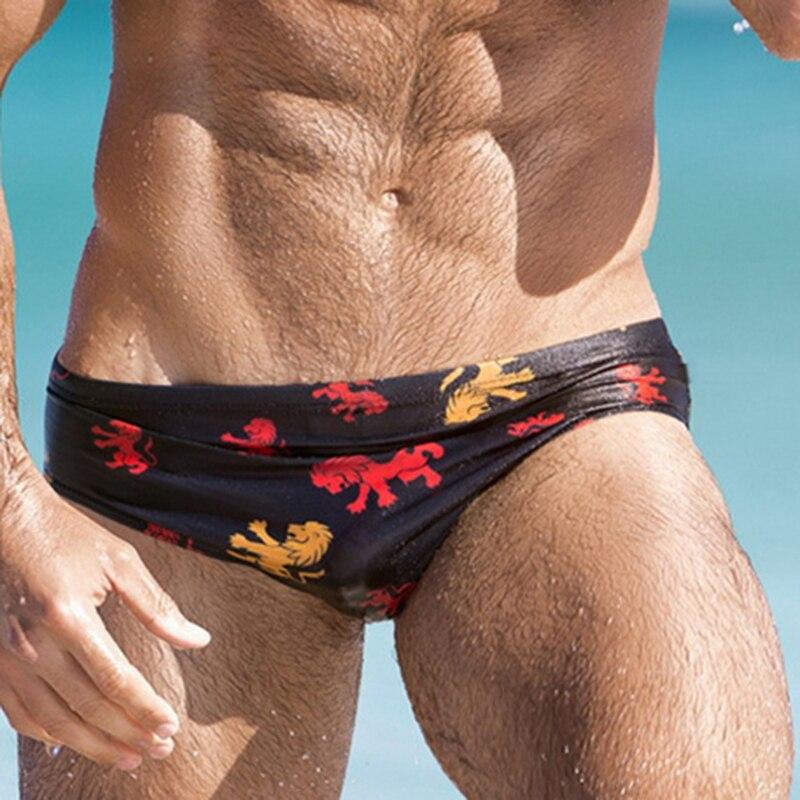 Bañador masculino con estampado de León para hombre, traje de baño deportivo con parte inferior para playa y surf