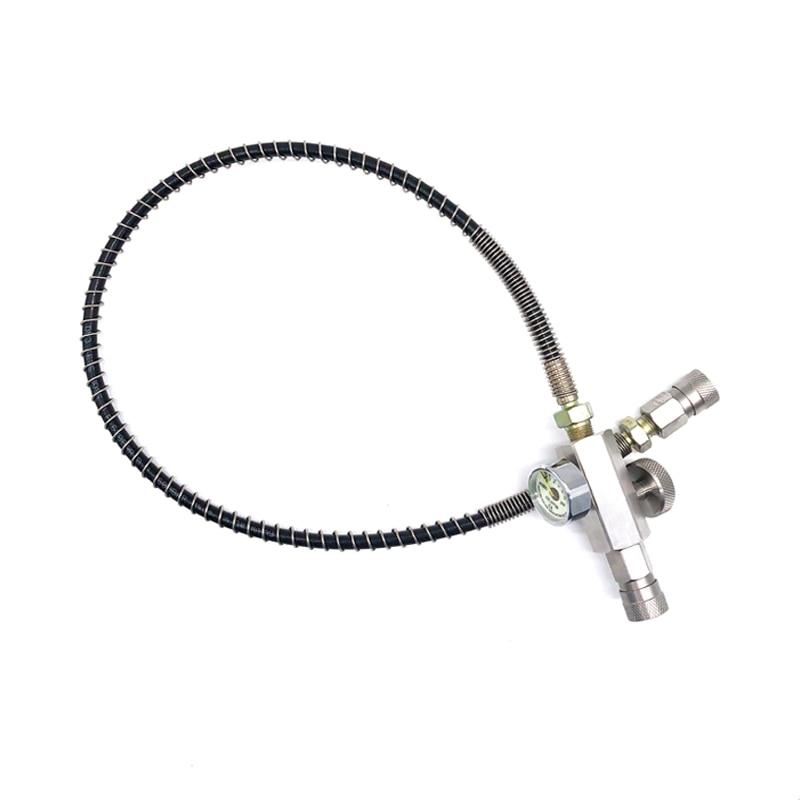 PCP Paintball HPA estación de llenado tornillo válvula de purga de acero inoxidable adaptador con manguera de 20 pulgadas/60 cm BLV2060-3