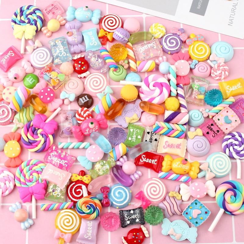 10 Uds Baba encanto caramelo mezcla DIY decoración de funda de teléfono para baba arcilla cristal pegamento miniatura resina pastel de caramelo