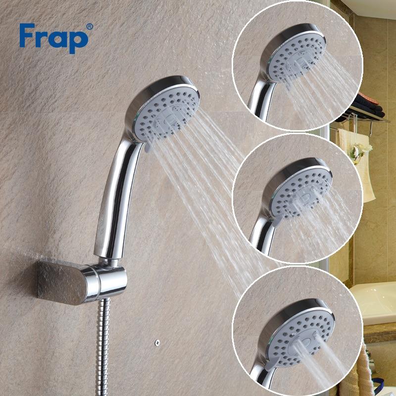 Frap 5 قطعة/الوحدة تعديل الثالثة والعتاد توفير المياه الحمام جولة دش رئيس ABS البلاستيك اليد عقد رذاذ حمام دش F01