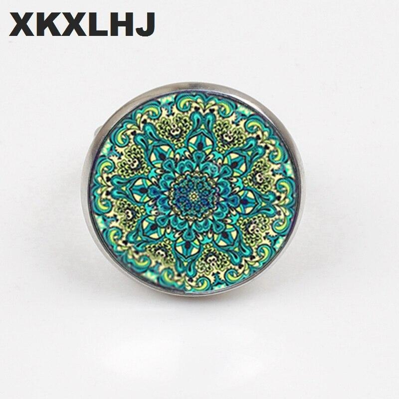 XKXLHJ New Yoga Ring Glass Convex Round Mandala Lotus om symbol Buddhist Zen Henna Jewelry Female Model