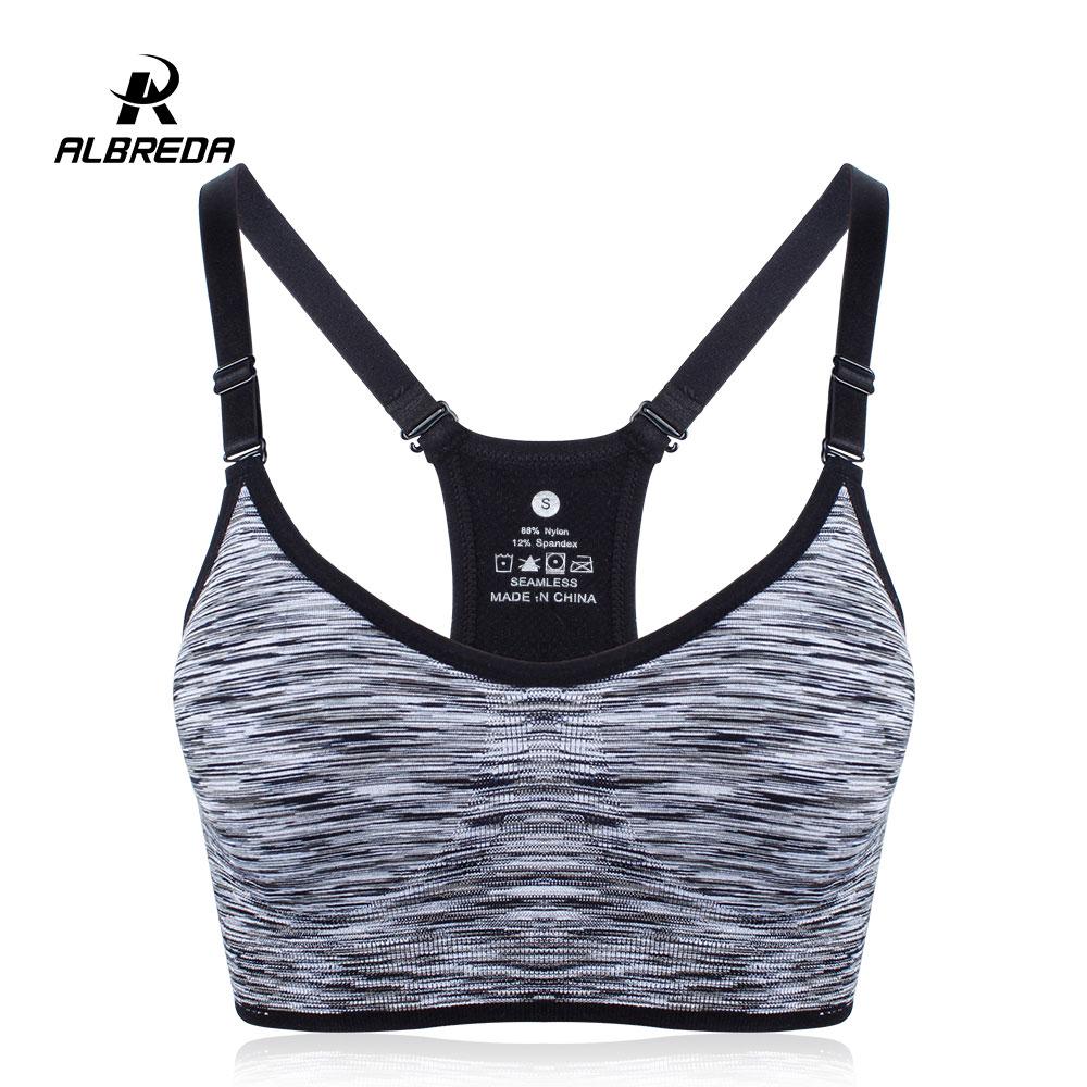 ALBREDA Women Fitness Yoga Sports Bra for Running Gym Straps Padded Top Athletic Vest  Quick Dry Sport bra for women 5 colors