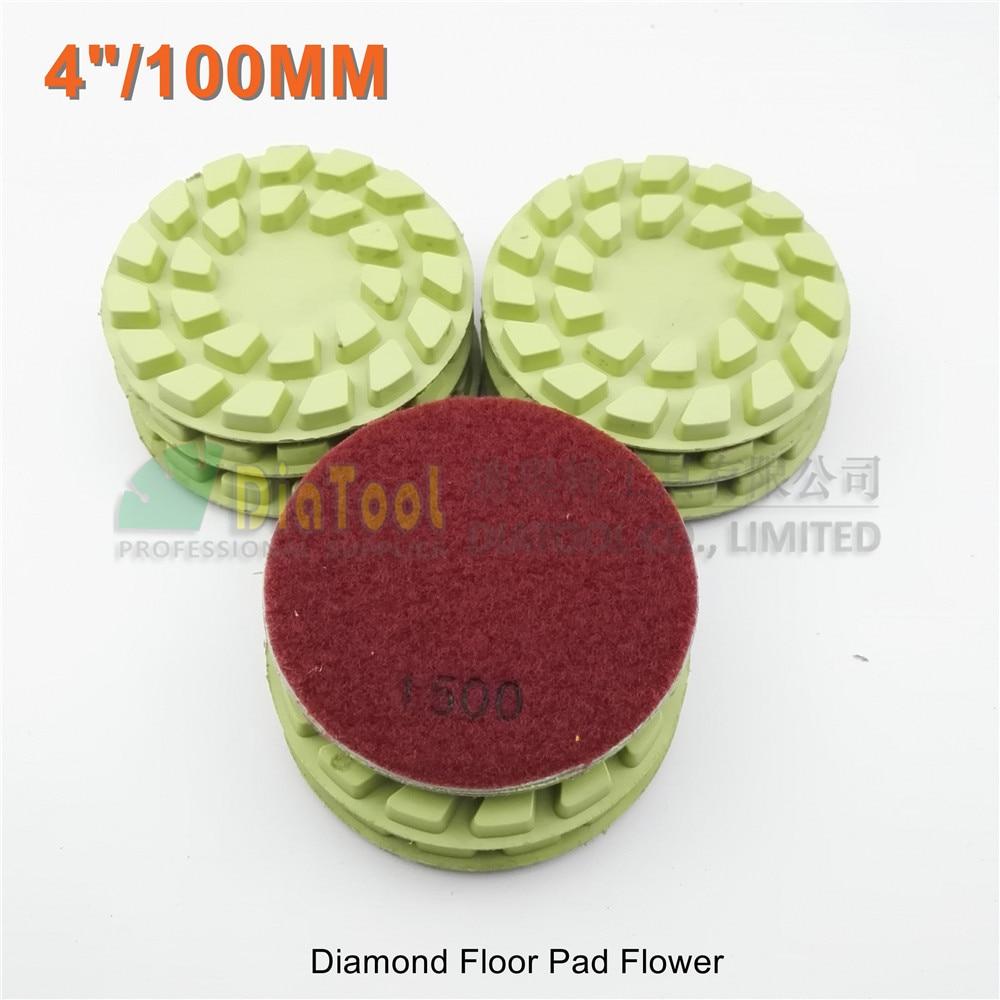 DIATOOL 9pcs 100mm #1500 diamond floor sanding disc Flower type 4