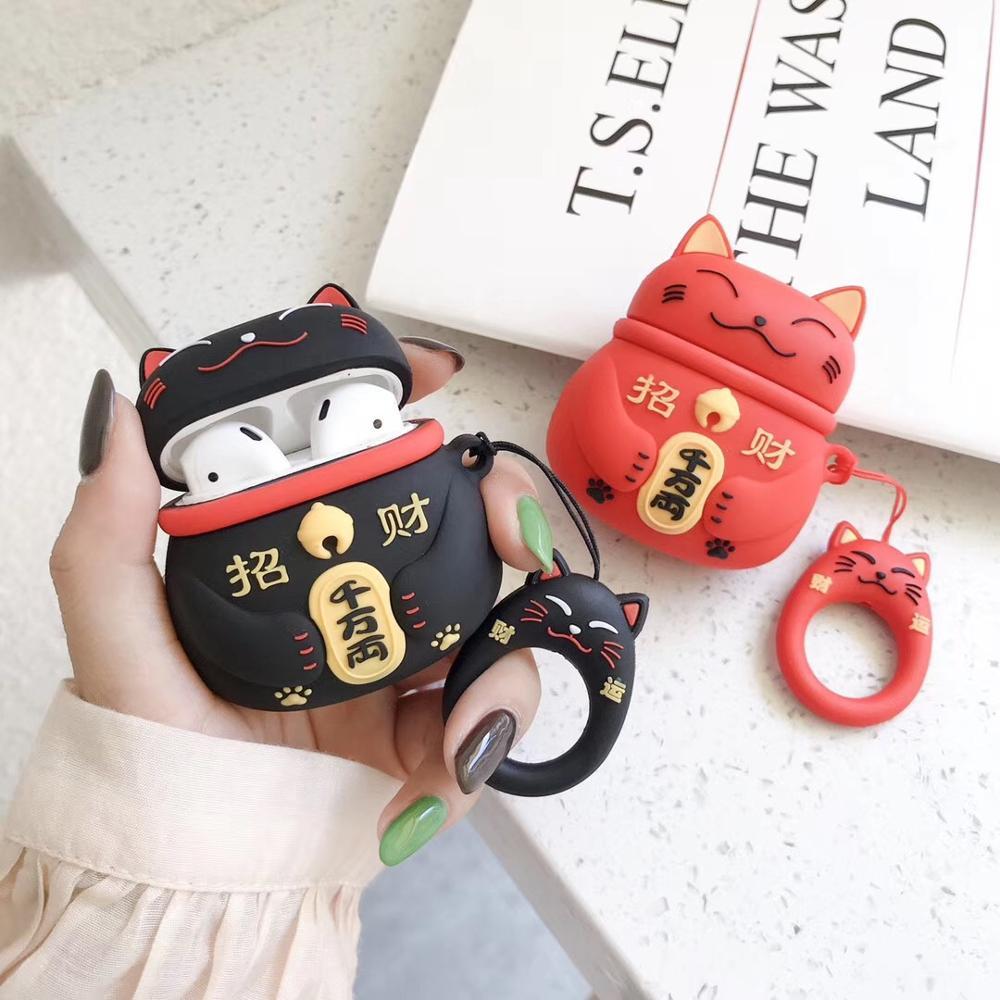 3 colores japoneses caricatura del gato de la suerte llavero estuches para auriculares para Airpods 1 2 funda de silicona accesorios funda protectora llavero