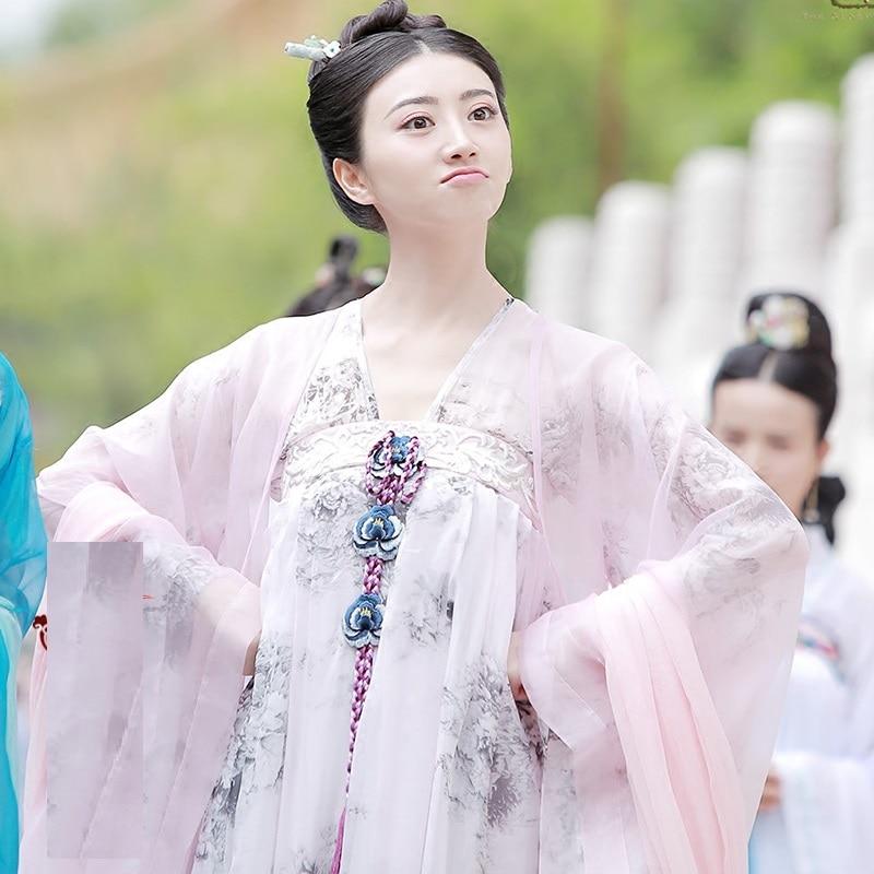 Jing tian shen zhenzhu princesa traje hanfu da dinastia tang cintura alta ruqun para nova tv jogar a glória da dinastia tang
