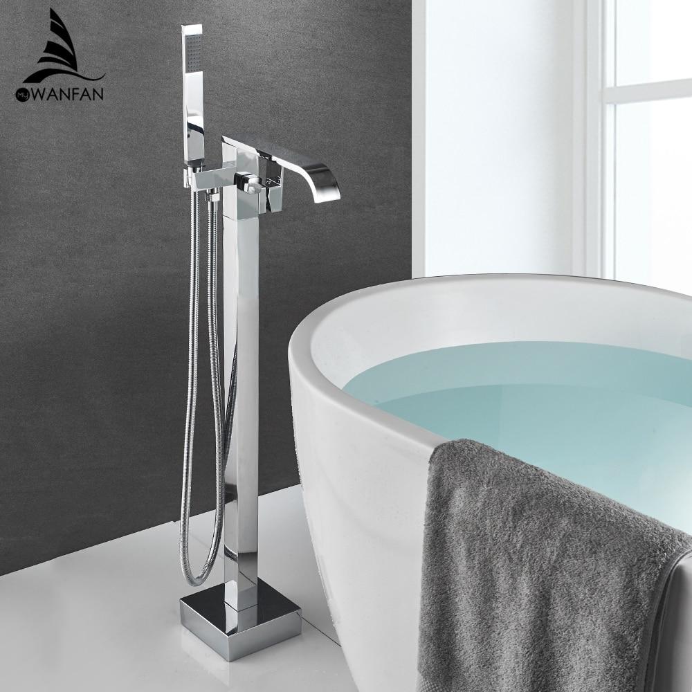 صنبور حمام نحاسي كروم مثبت على الأرض ، صنبور حمام بمقبض واحد ، بخاخ يدوي ، 4016