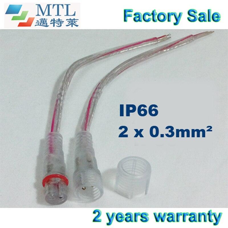 Conector impermeable 2 pines, 50 par/lote, 2x0. 3MM2 de IP66 36 cm claro tira de led accesorios venta al por mayor de la fábrica