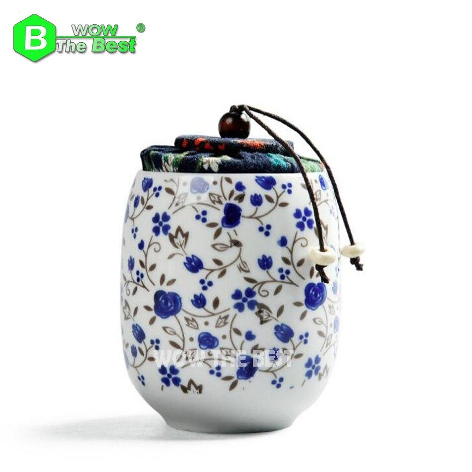Estilo chino Mini Linda porcelana China lata de té cerámica Almacenamiento de té pecho viaje pequeña Mini lata de corcho Sege puede glasear en color