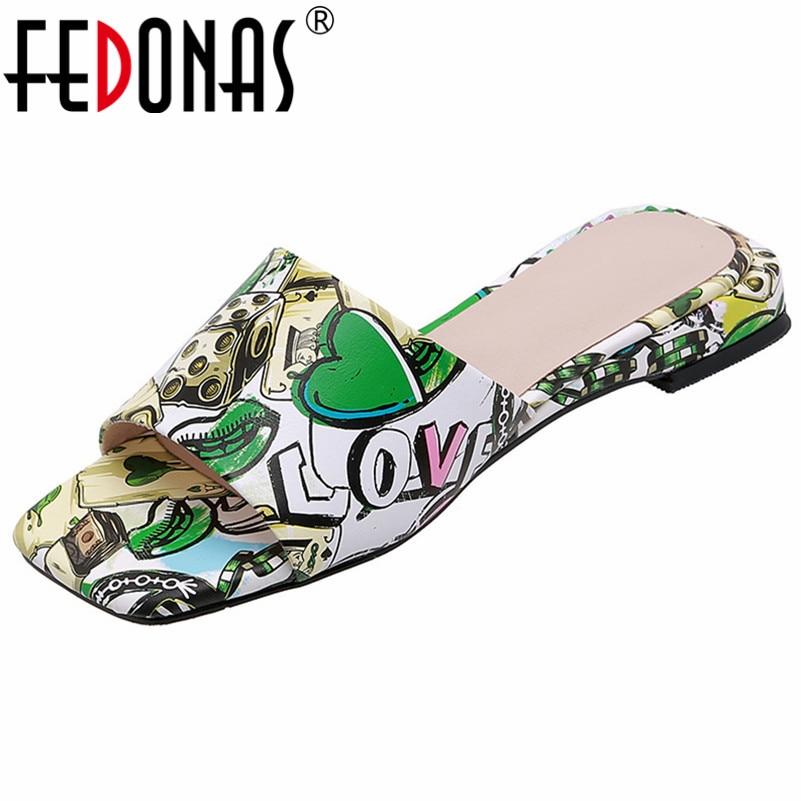 FEDONAS-صندل نسائي بكعب منخفض ومقدمة مربعة ، أحذية أساسية غير رسمية ، جلد طبيعي ، سهل الارتداء ، للصيف