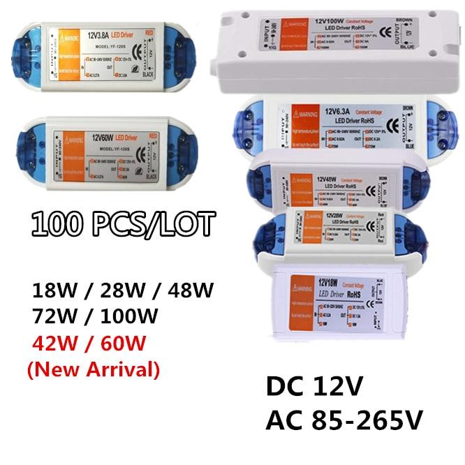 100PCS Power Supply 12V LED Driver 18W 28W 42w 48W 60W 72W 100W AC 85-265V to 12V DC Lighting Transformer Adapter for LED Strip