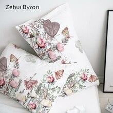 3D HD Pillow Case Pillowcase Custom/50x70/50x75/50x80/70x70 Decorative Pillow Cover,Butterfly in flowers Bedding Drop Ship