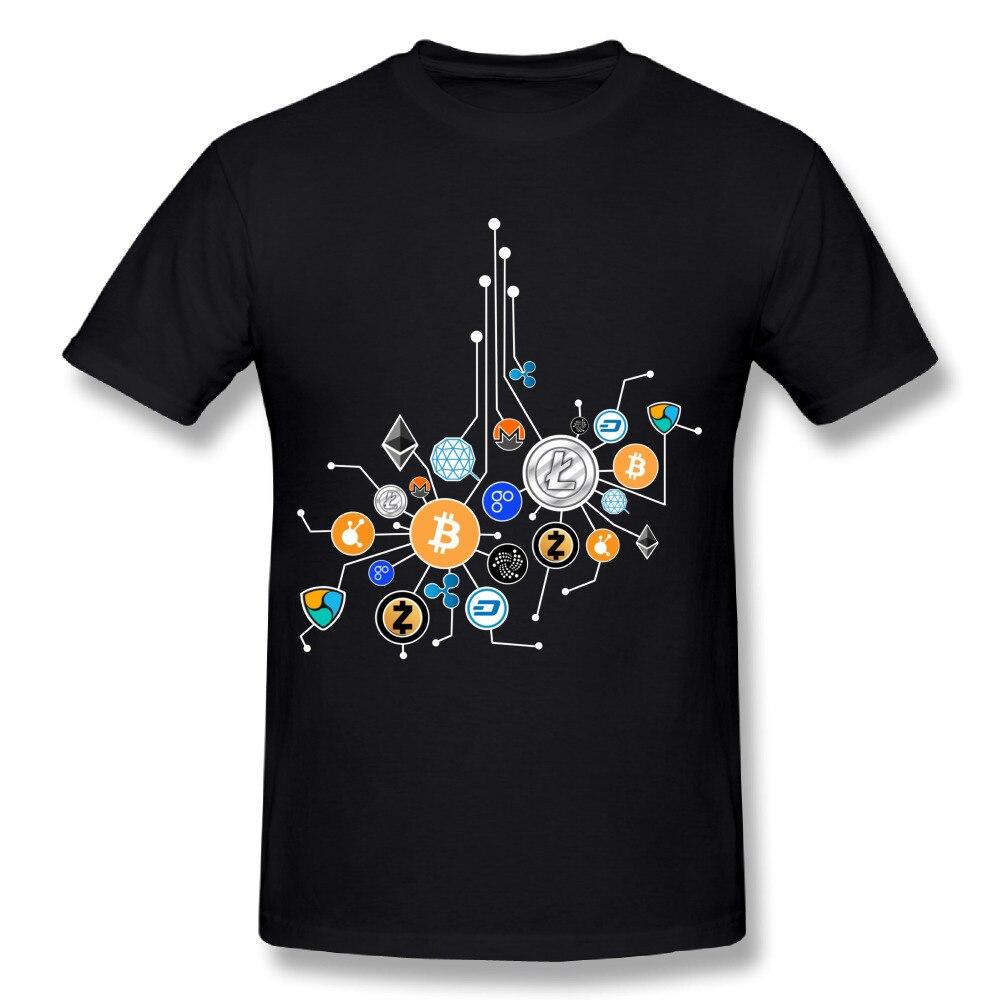 Mens 3D Print Ethereum Bitcoin Litecoin T Shirt Summer Fashion Cryptocurrency Network T-shirt Round Neck Design Tee Shirts