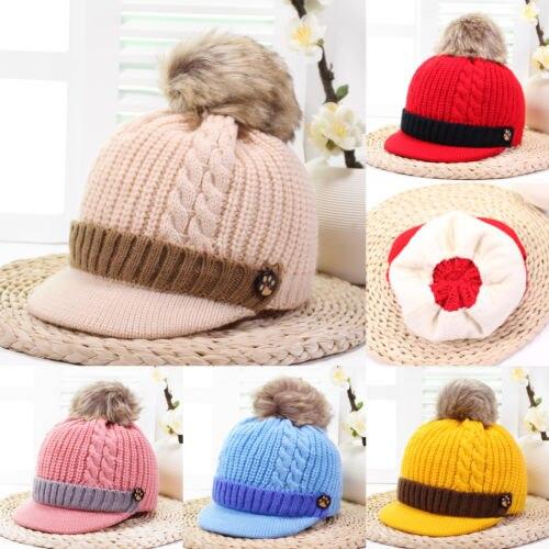 2018 Hot Sale Children Kids Baby Girl Boy Warm Winter Wool Knit Beanie Flat Pom Bobble Hat Fashion Casual Cap Gift