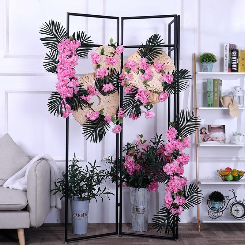 170CM flor de cerezo artificial enredaderas de flores de seda de flores de sakura falso garland guirnalda arco ivy fiesta boda decoración del techo del hogar