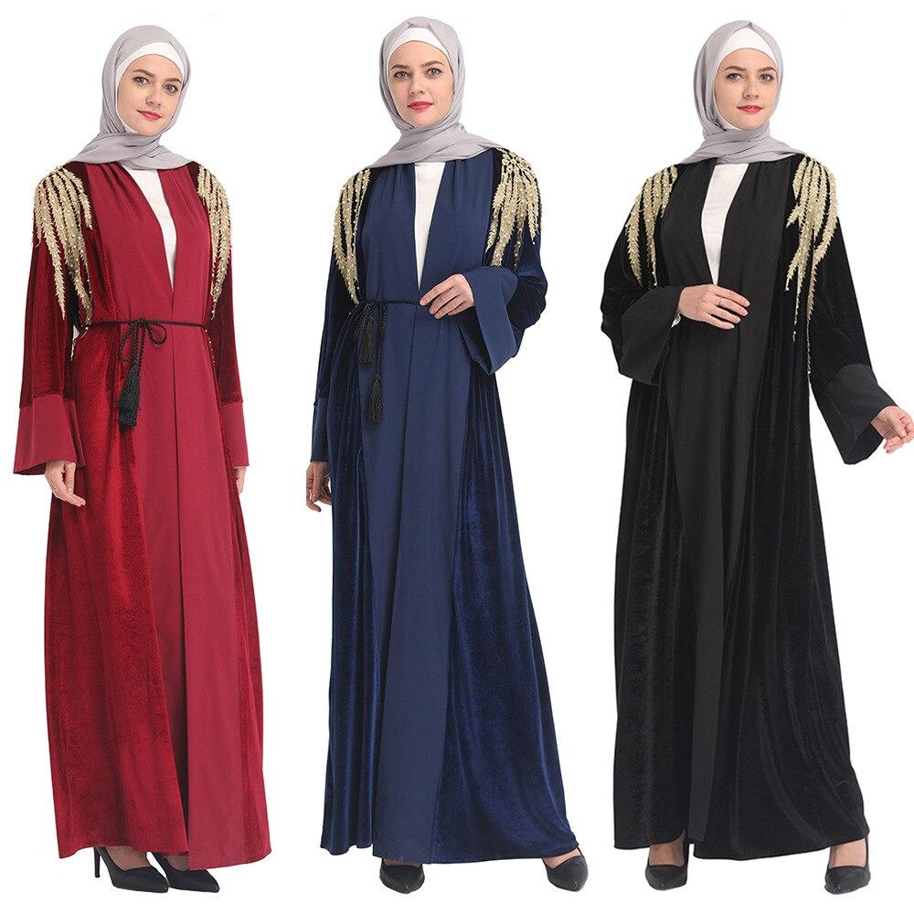 فستان كيمونو عباية مطرز بالخرز للنساء المسلمات في دبي لعام 2019
