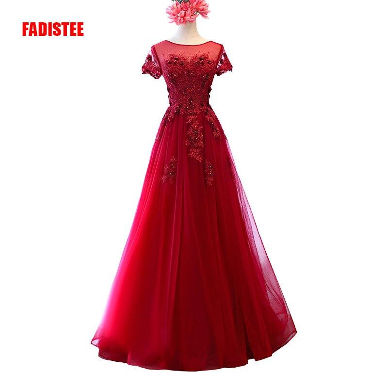 FADISTEE Neue ankunft abendkleid elegante partei kleid Vestido de Festa A-line spitze perlen scoop neck 3D-Floral Appliques Burgund