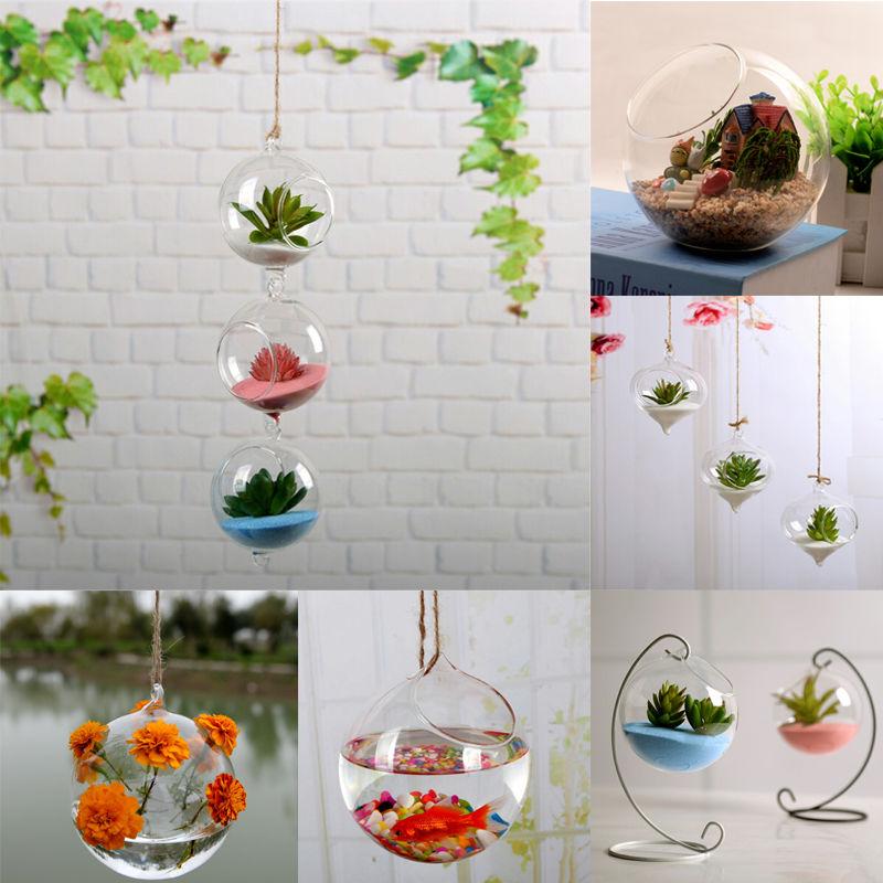 Nova casa jardim de vidro claro flor pendurado vaso plantador terrário planta recipiente