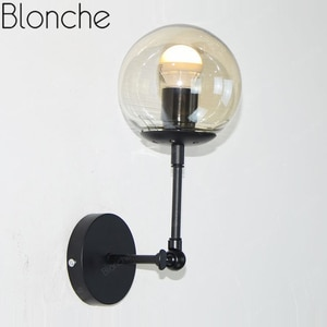 Retro Glass Ball Wall Lamp Metal Black Wall Light Loft Fixture for Home Industrial Decor Living Room Bedroom Kitchen Wall Sconce