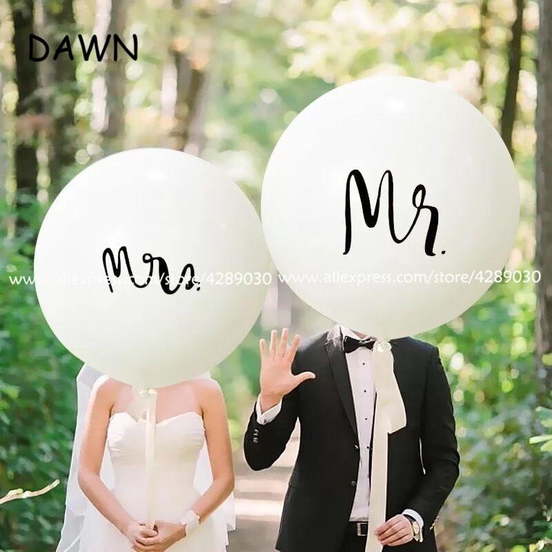 2 unids/lote redondos de globos de látex con estampado blanco de 36 pulgadas para decoración de bodas globo inflable de helio para despedida de soltera de San Valentín